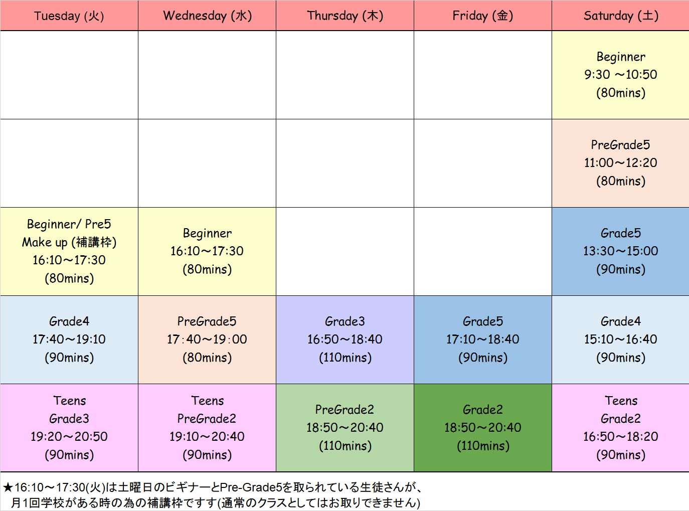 3月からの開講クラスと時間割