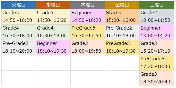 3学期の時間割